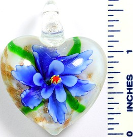 Glass Pendant Flower Heart White Blue PD768