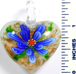 Glass Pendant Flower Heart White Blue PD769