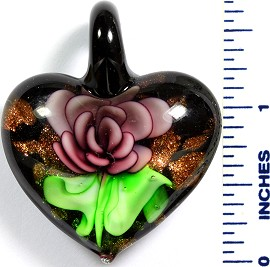 Glass Pendant Flower Heart Black Green Purple PD771