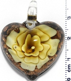 Glass Pendant Flower Heart Black Yellow PD773