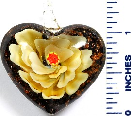 Glass Pendant Flower Heart Black Dark Yellow PD775