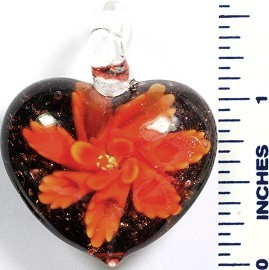 Glass Pendant Flower Heart Black Orange PD776