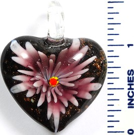 Glass Pendant Flower Heart Black Purple PD779
