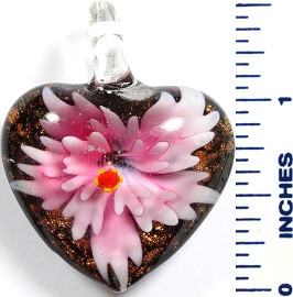 Glass Pendant Flower Heart Black Pink PD781