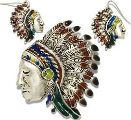 1 Set Pendant Earrings Indian Chief Metallic Silver Brown PD782