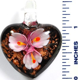 Glass Pendant Flower Heart Black Pink PD783