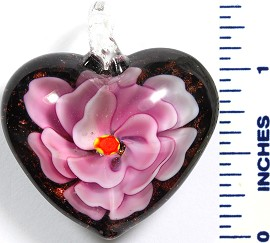 Glass Pendant Flower Heart Black Pink PD785