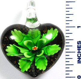 Glass Pendant Flower Heart Black Green PD787