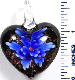 Glass Pendant Flower Heart Black Blue PD790