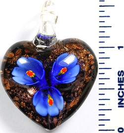 Glass Pendant Flower Heart Black Blue PD792