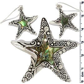 Set Earring Pendant Starfish Abalone PD793