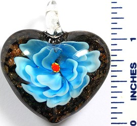 Glass Pendant Flower Heart Black Sky Blue PD794
