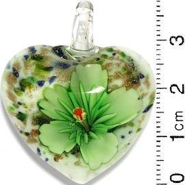 Glass Pendant Flower Heart White Gold Blue Green PD796 - Click Image to Close