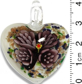 Glass Pendant Flower Heart White Gold Green Blue Purple PD801
