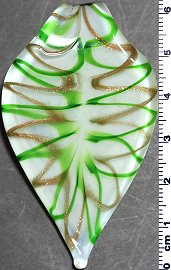 Glass Pendant Leaf Point White Gold Green PD807