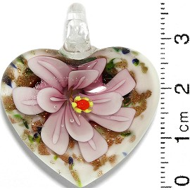 Glass Pendant Flower Heart White Gold Green Blue Pink PD809