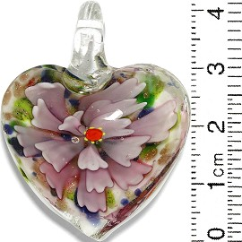 Glass Pendant Flower Heart White Gold Green Blue Pink PD810