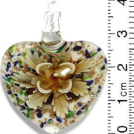 Glass Pendant Flower Heart White Gold Green Blue Yellow PD811