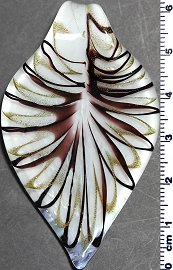 Glass Pendant Leaf Point White Gold Dark Purple PD812