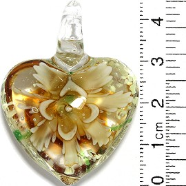 Glass Pendant Flower Heart Clear Green Tan Yellow PD814