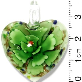 Glass Pendant Flower Heart White Gold Green PD816