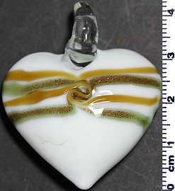 Glass Pendant Heart White Gold PD817