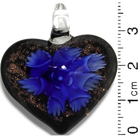 Glass Pendant Flower Heart Black Gold Blue PD831