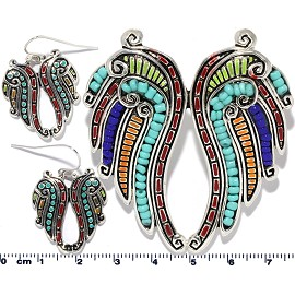 Set Earring Wing Multi Color PD833