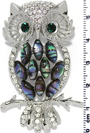 Abalone Pendant Owl Rhinestones Silver Green PD839
