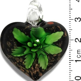 Glass Pendant Flower Heart Black Gold Green PD847
