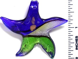 Glass Pendant Small Star Fish Blue Silver Green PD855
