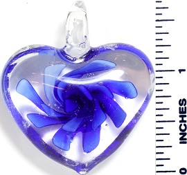 Glass Pendant Flower Big Heart Clear Blue PD858
