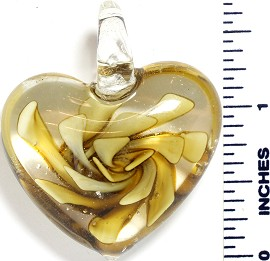 Glass Pendant Flower Big Heart Clear Yellow PD860