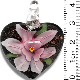 Glass Pendant Flower Heart Black Gold Pink PD863