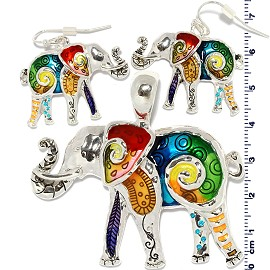 Set Earring Pendant Multi Color Elephant PD871