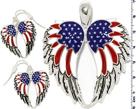 Set Earring Pendant Multi Color American Angel Wing PD872