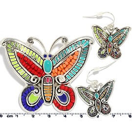 Set Pendant Earring Butterfly Multi Color PD879