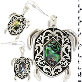 Set Earring Pendant Sea Turtle Abalone Silver Green PD881