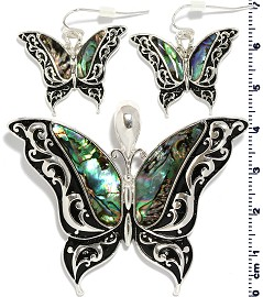 Set Earring Pendant Butterfly Abalone Silver Green PD882