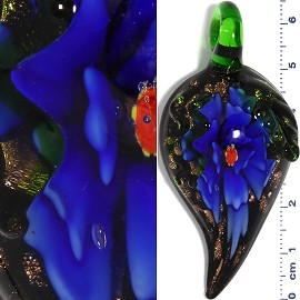 Glass Pendant Flower Leaf Curve Point Gold Black Blue PD886