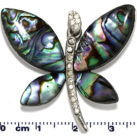 Abalone Pendant Silver Dragonfly Rhinestone PD890