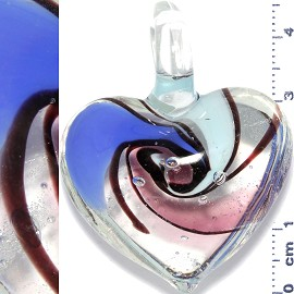 Glass Pendant Heart Clear Light Blue Purple PD897