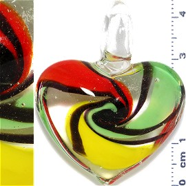 Glass Pendant Heart Clear Green Red Yellow PD898