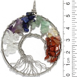 Oak Tree Of Life Stone Metallic Pendant Silver Multi Color Pd899