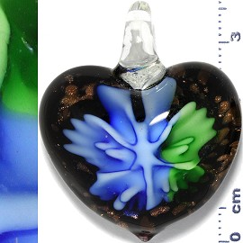 Glass Pendant Flower Heart Gold Black Blue Green PD901