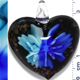 Glass Pendant Flower Heart Gold Black Blue Turquoise PD902