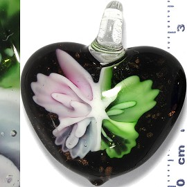 Glass Pendant Flower Heart Gold Black Green Pink PD903