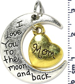 Metallic Pendant Moon Heart Mom Silver Gold Tone PD907