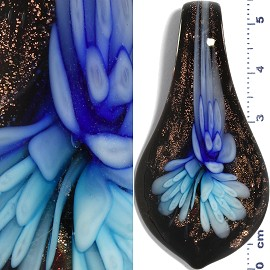 Glass Pendant Flower Spoon Black Gold Blue Sky Blue PD938