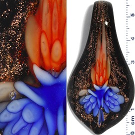 Glass Pendant Flower Spoon Black Gold Blue Orange PD939